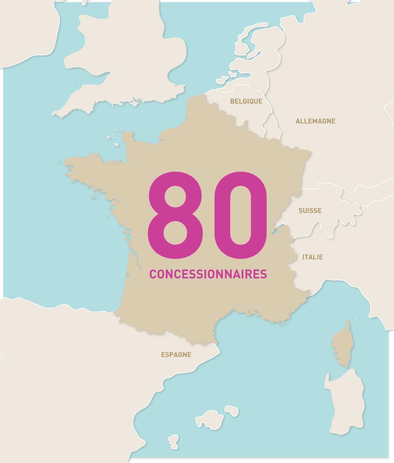 Carte des concessionnaires du réseau Piscines Ibiza